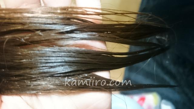 POLAグローイングショット グラマラスケアコンディショナーを洗い流した直後の濡れている髪