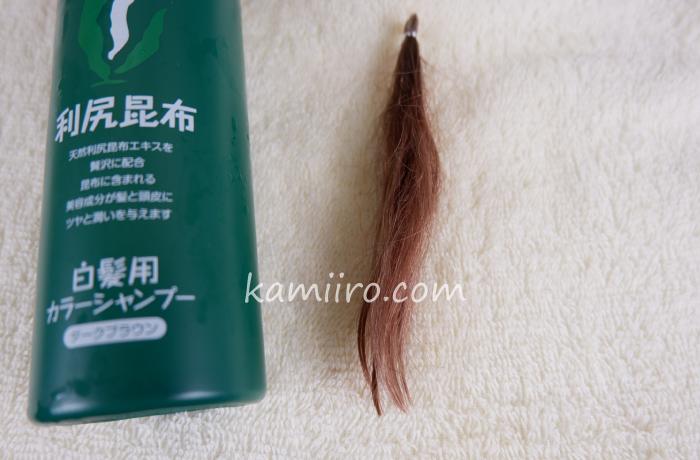 利尻カラーシャンプーのボトルと5度染めた人毛白髪毛束を並べて撮影した写真