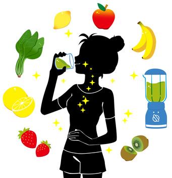 スムージーを飲む女性のシルエットと野菜を効率よく摂取するイメージ