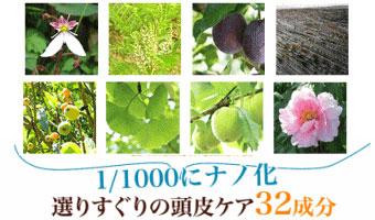 原料となる植物や草花の写真。1/1000にナノ化!選りすぐりの頭皮ケア32成分