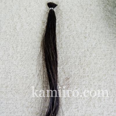 白髪50%の人毛毛束を利尻カラートリートメントで2回染めた写真