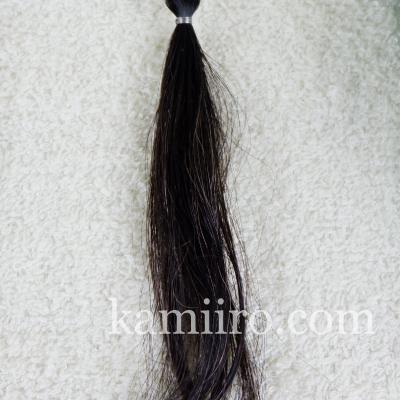 白髪50%の人毛毛束を利尻カラートリートメントで1回染めた写真