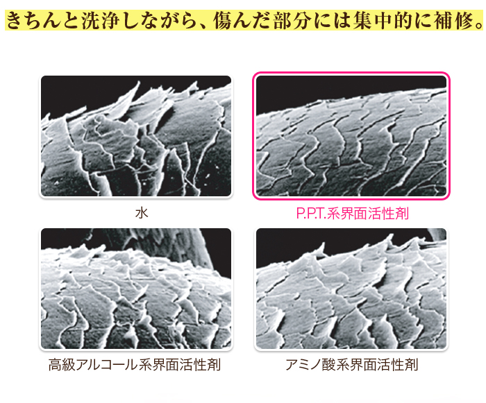 PPT系界面活性剤と他の洗浄成分の毛髪補修力の違いを示す写真