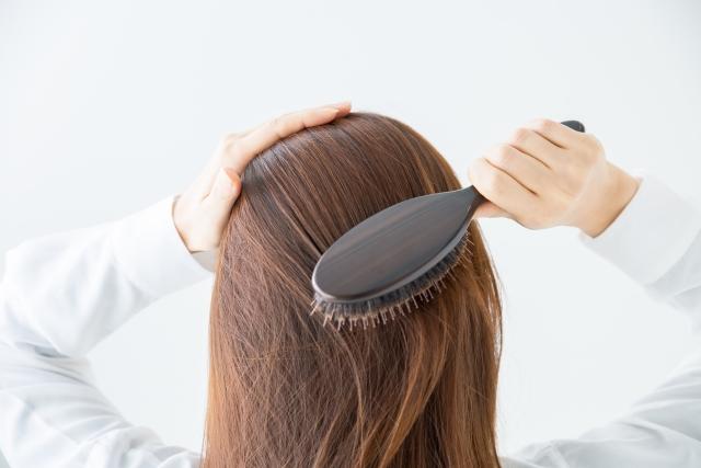 ブラシで髪をとかす女性の後ろ姿