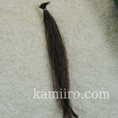 白髪50%・黒髪50%の人毛毛束を利尻カラーシャンプーで1回染めた写真