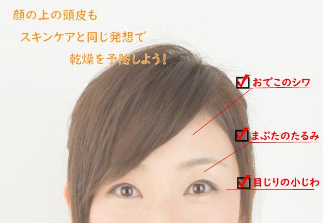 おでこのシワ・まぶたのたるみ・目じりの小じわ。顔の上の頭皮もスキンケアと同じ発想で乾燥を予防しよう!