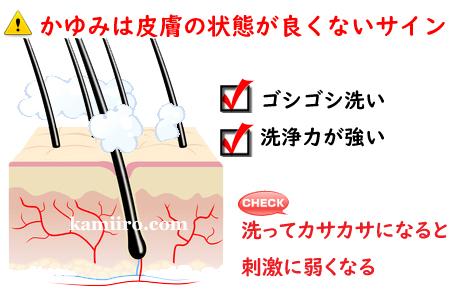 イラスト解説。!かゆみは皮膚の状態が良くないサイン。ゴシゴシ洗い・洗浄力が強い。洗ってカサカサになると刺激に弱くなる