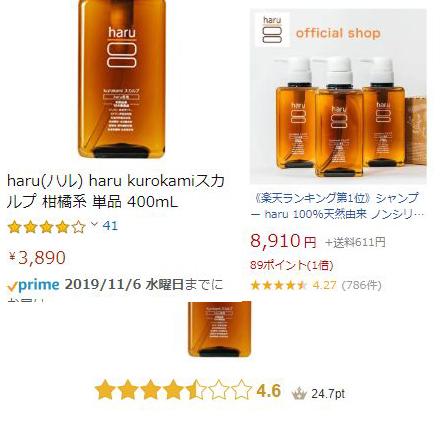 楽天・アマゾン・@コスメ3サイトのkurokamiスカルプの評価