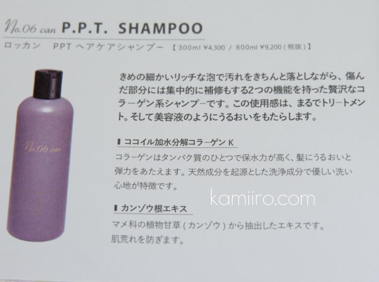 ナンバーロッカンのパンフレット「PPTヘアケアシャンプー」のページを撮影した写真
